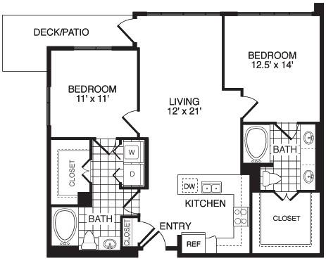 1,108 sq. ft. F2C floor plan