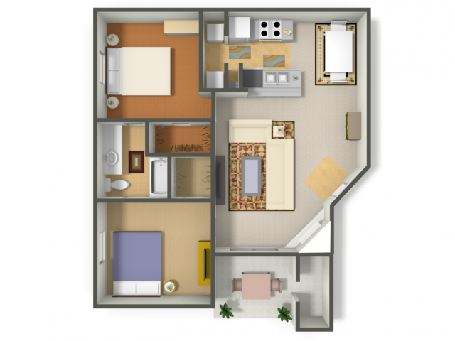970 sq. ft. Two Bedroom/One Bath  (B1) floor plan
