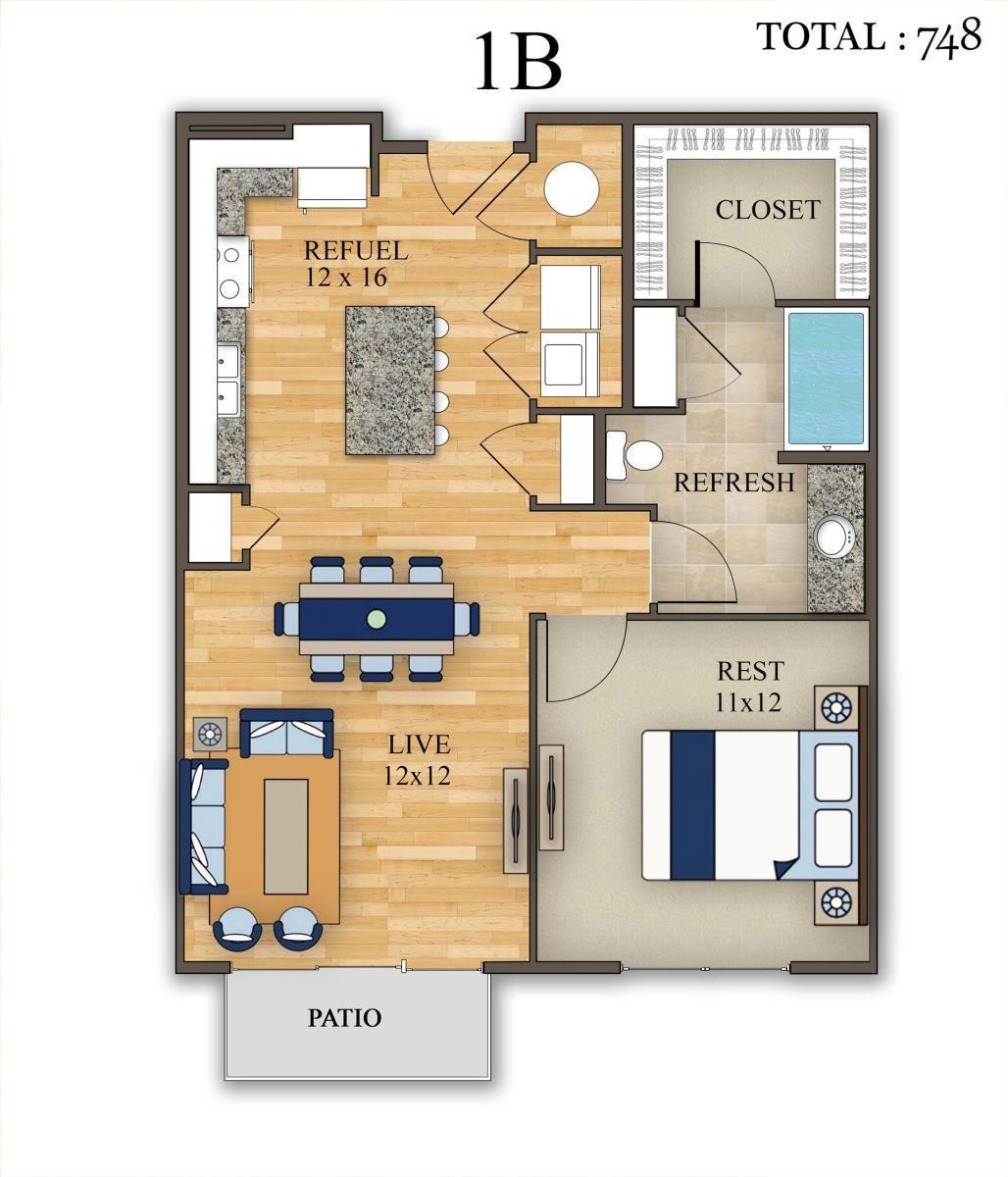 748 sq. ft. 1B floor plan