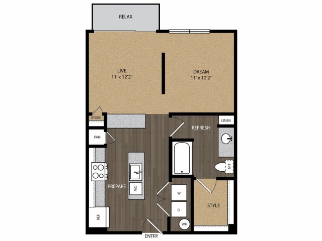 660 sq. ft. Cedar E3 floor plan