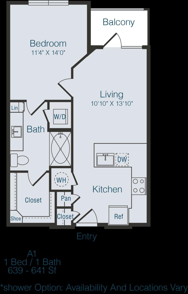 639 sq. ft. to 641 sq. ft. A1 floor plan