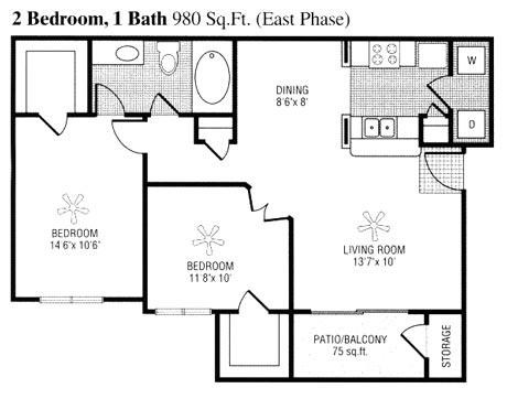 905 sq. ft. to 980 sq. ft. E floor plan