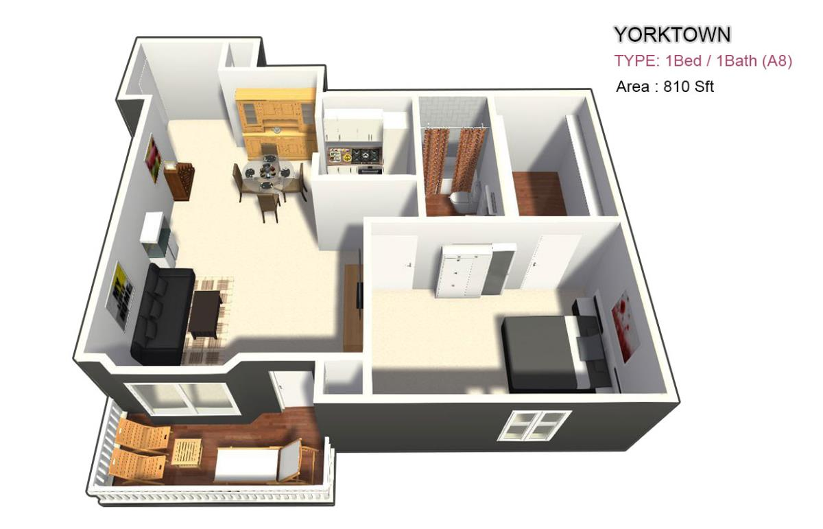 815 sq. ft. 1X1 floor plan