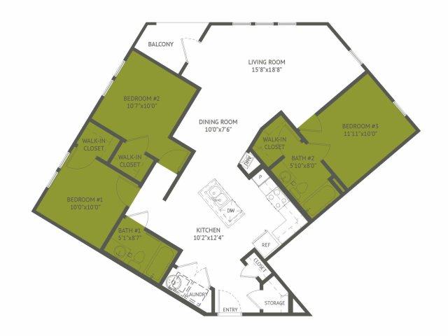 1,209 sq. ft. Crossroads/Mkt floor plan