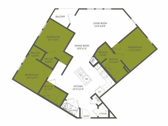 1,209 sq. ft. Crossroads/Mkt floor plan