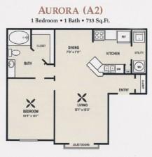 733 sq. ft. MKT floor plan