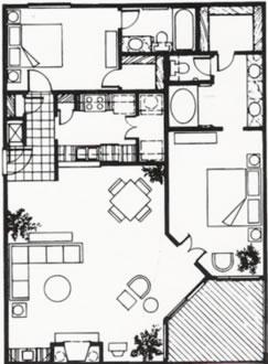 1,226 sq. ft. C floor plan
