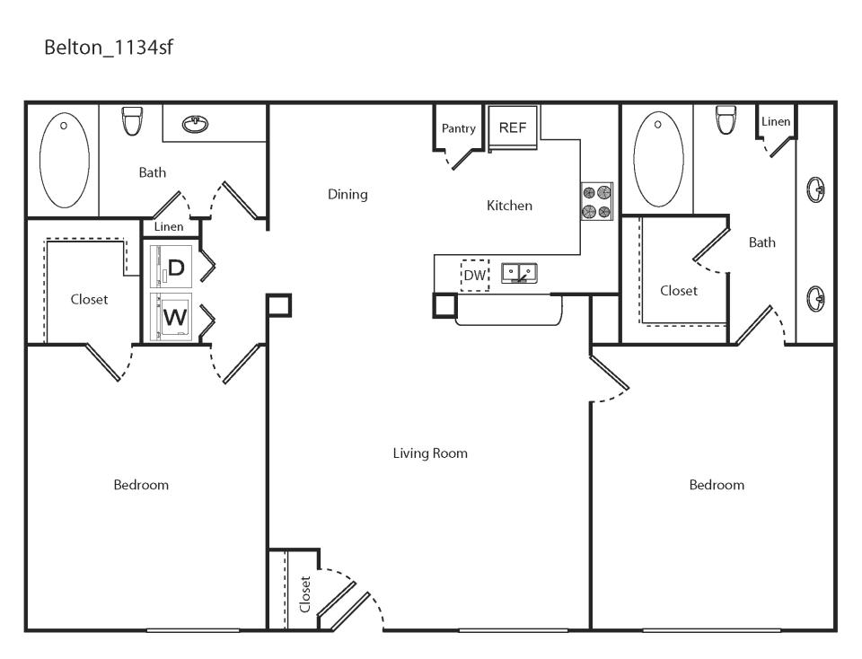 1,134 sq. ft. Belton floor plan