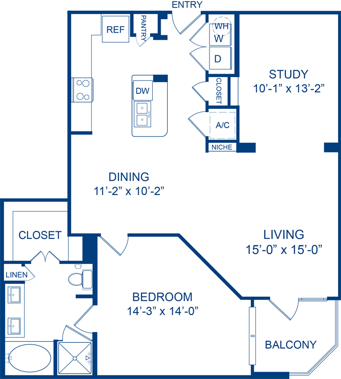 1,141 sq. ft. Lemon Beebalm floor plan