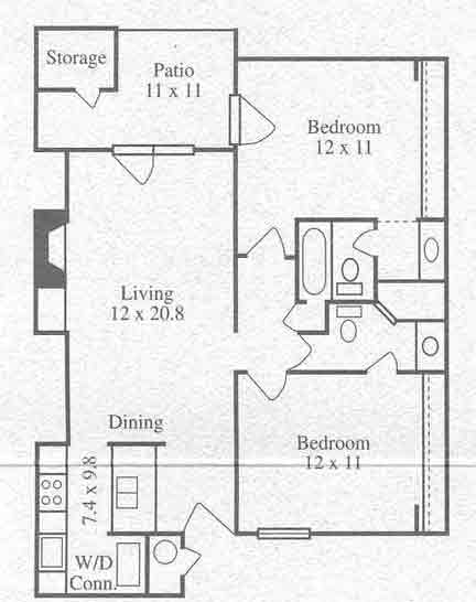 900 sq. ft. B1 floor plan