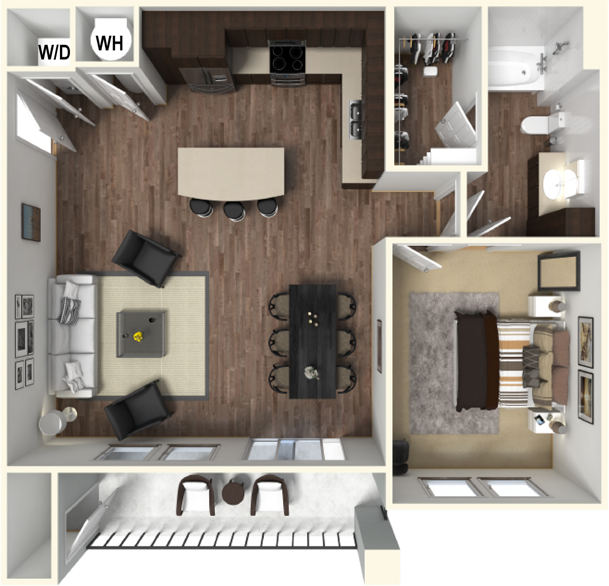 825 sq. ft. A3A floor plan