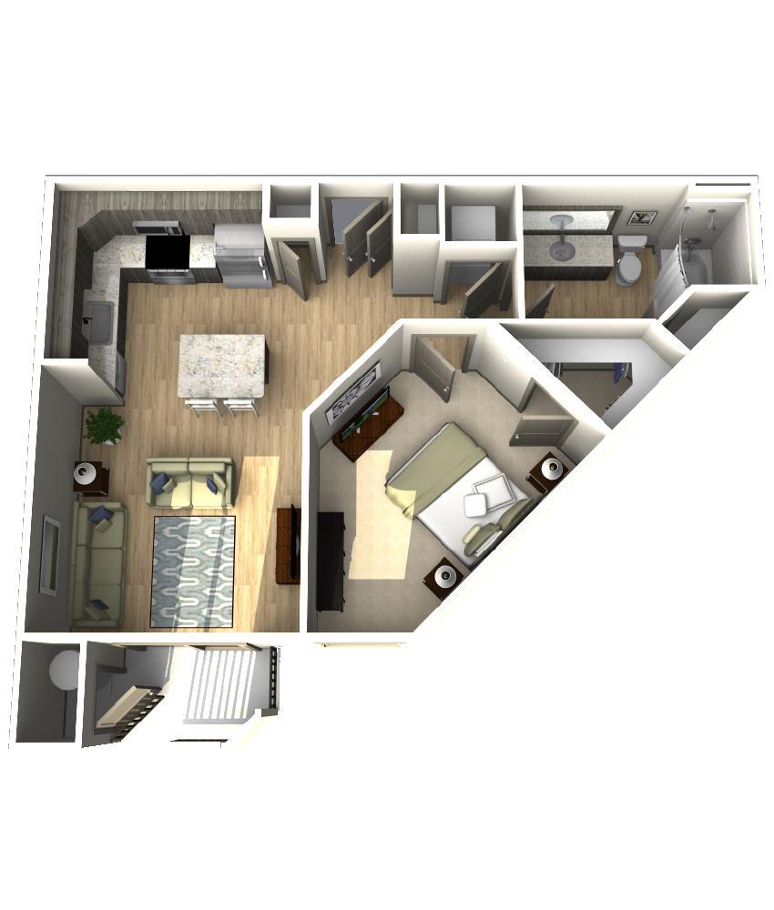 704 sq. ft. A4 floor plan