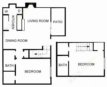1,032 sq. ft. 2C/D floor plan