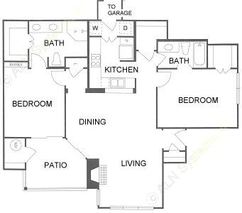 1,193 sq. ft. 2B floor plan