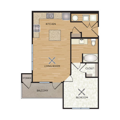 668 sq. ft. A1/A5 floor plan