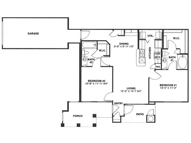 988 sq. ft. R/60% floor plan