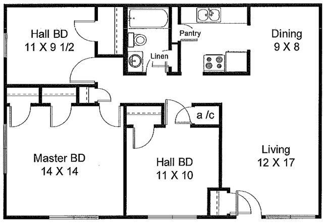 1,001 sq. ft. floor plan