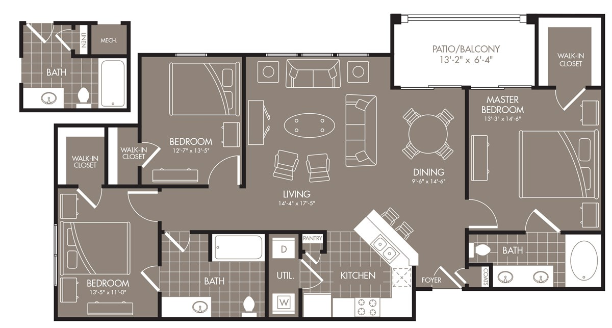 1,309 sq. ft. Zanstra floor plan