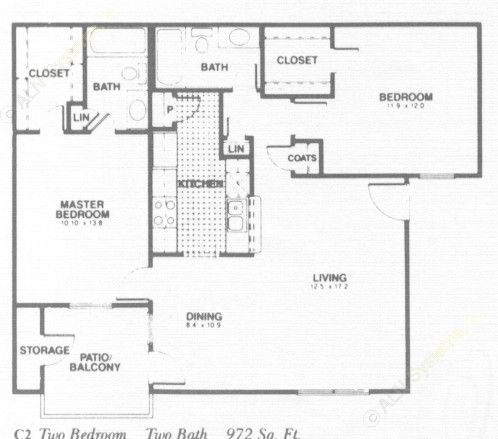 972 sq. ft. C2 floor plan