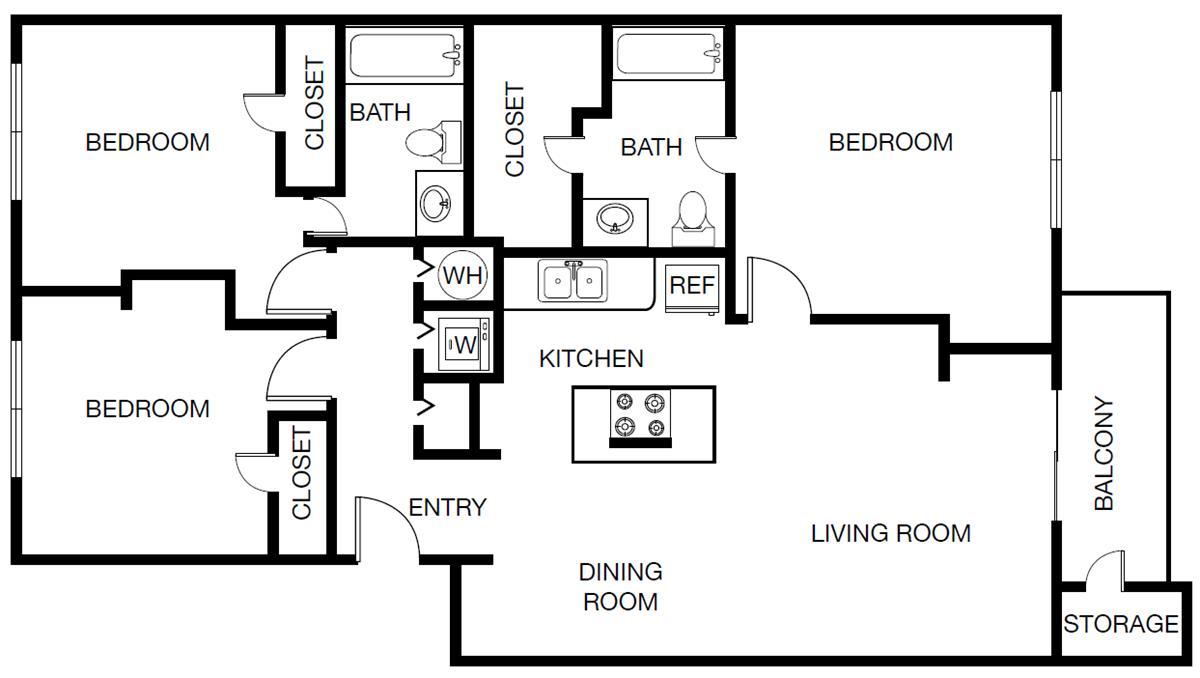 1,185 sq. ft. Tuscany floor plan