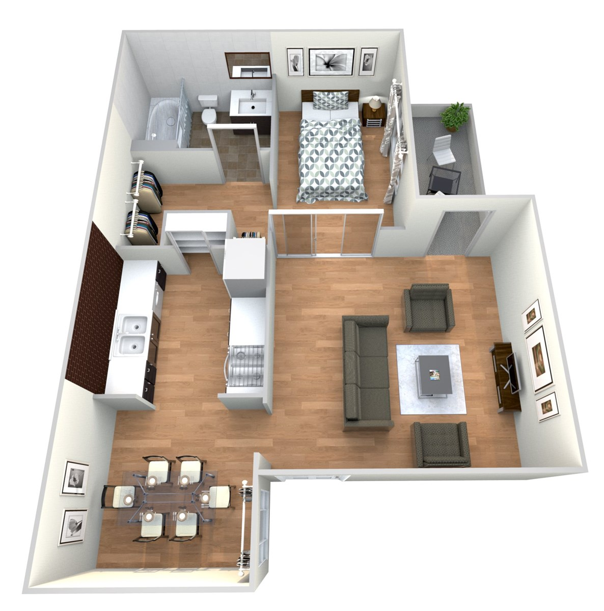 529 sq. ft. 1x1 A floor plan