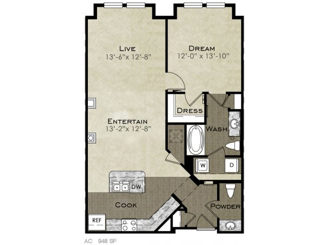 948 sq. ft. Holly II floor plan
