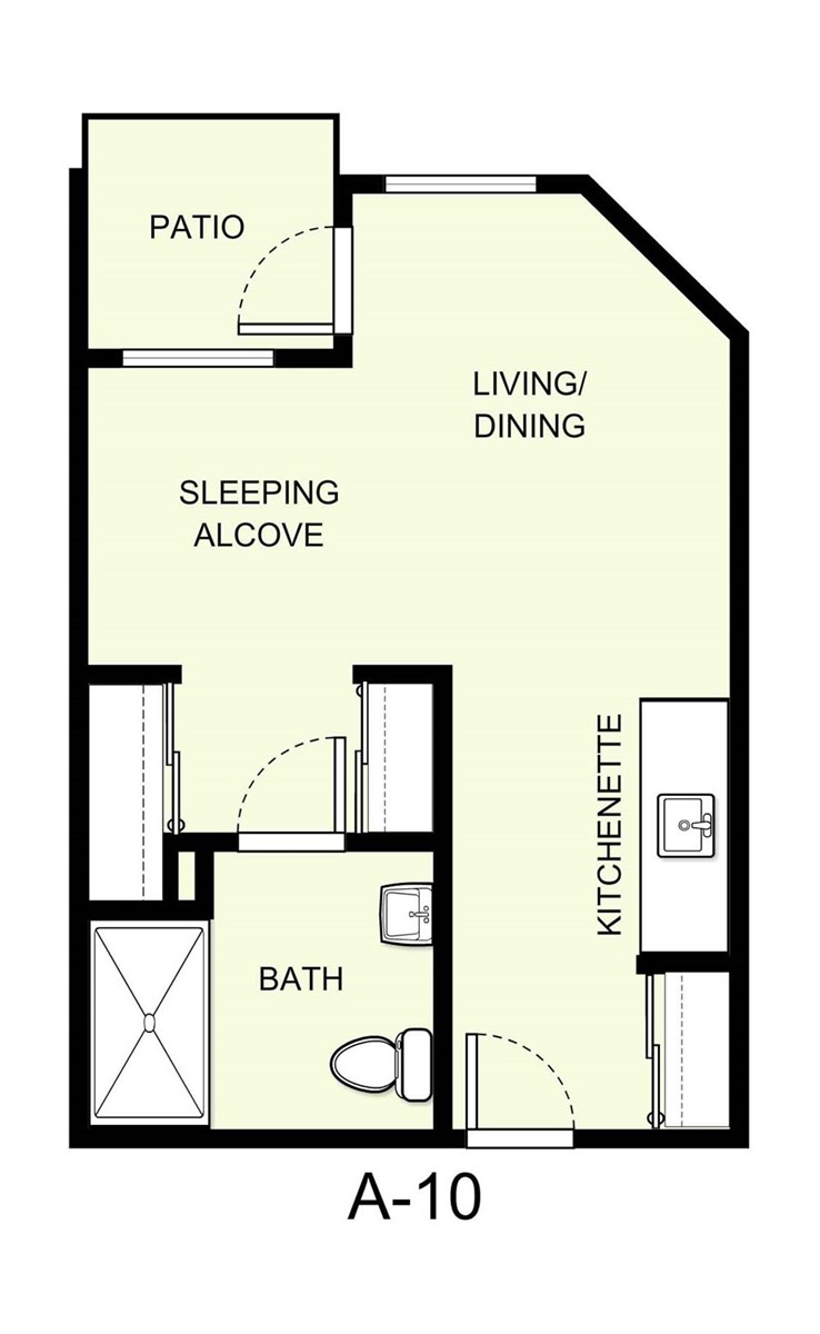 388 sq. ft. A10 floor plan