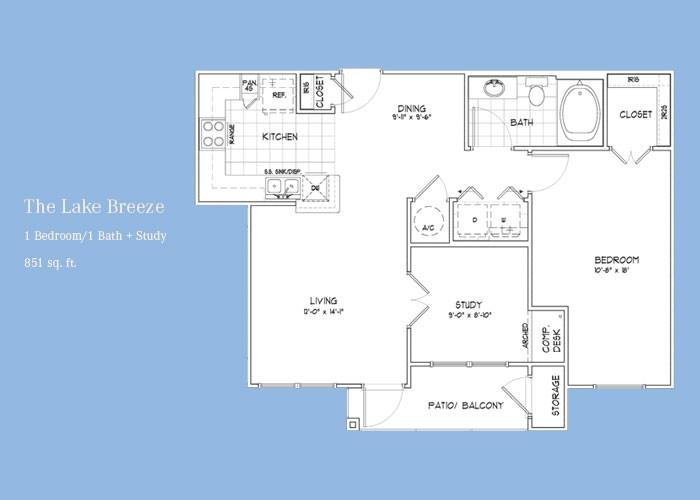 825 sq. ft. Lakebreeze floor plan