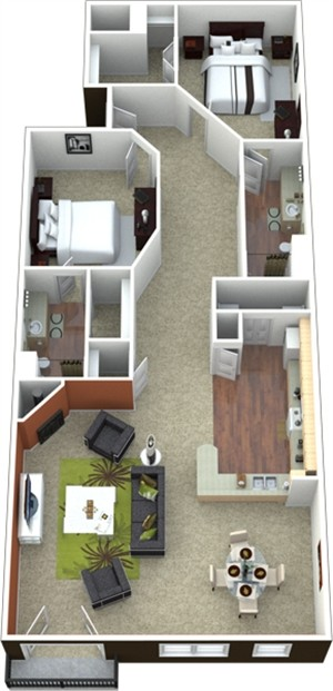 1,044 sq. ft. to 1,097 sq. ft. B1 floor plan
