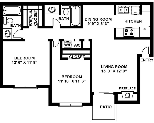 976 sq. ft. B-2 floor plan