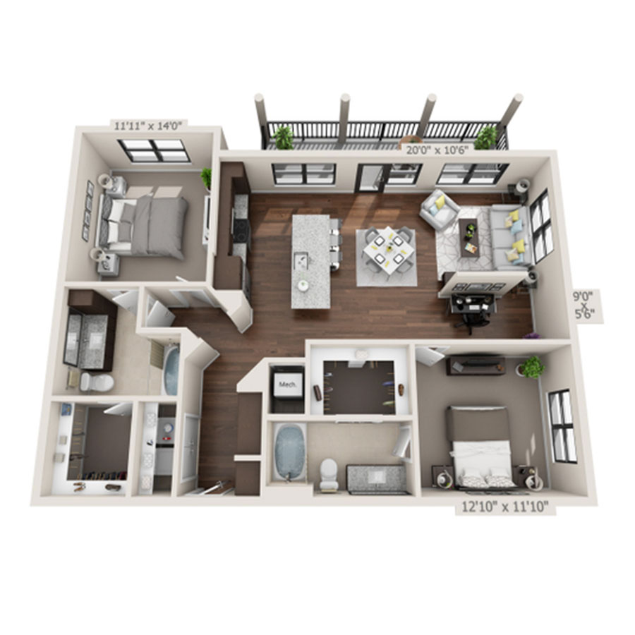 1,303 sq. ft. B3 floor plan