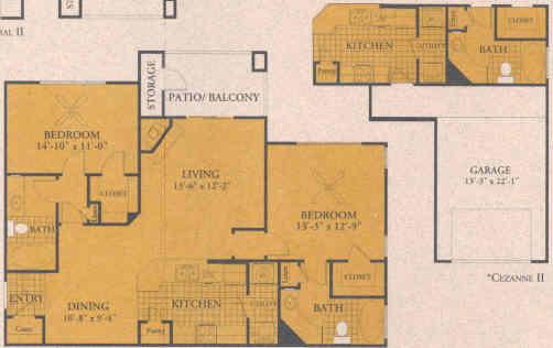1,133 sq. ft. B2 floor plan