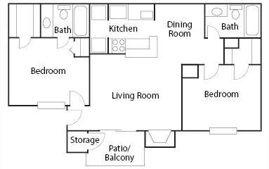 886 sq. ft. B1/B2 floor plan