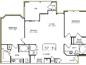 1,109 sq. ft. Wisteria floor plan
