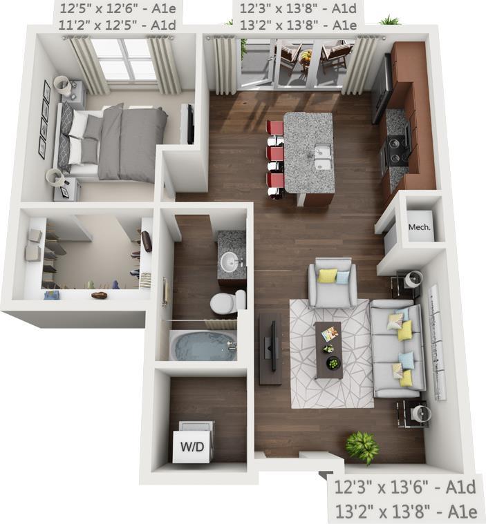 747 sq. ft. A1D floor plan
