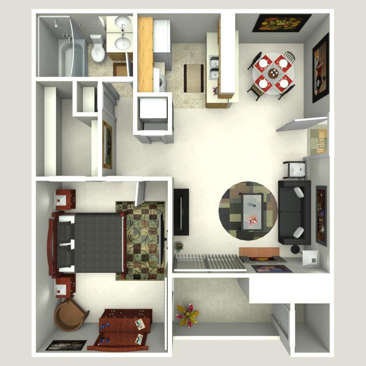 620 sq. ft. A-4 floor plan