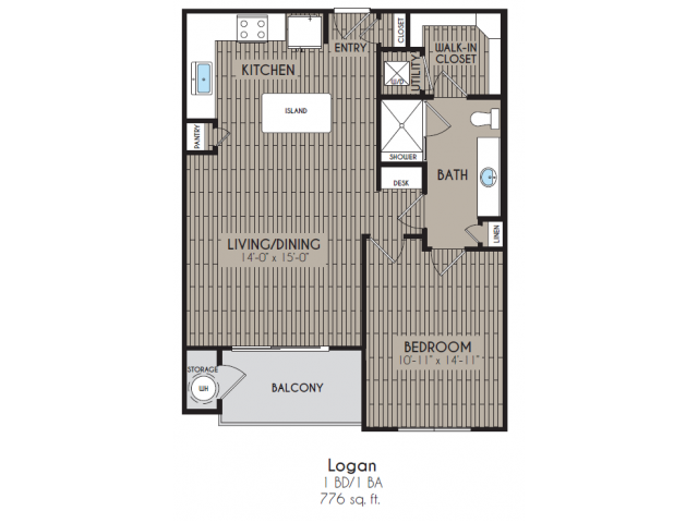 776 sq. ft. Logan floor plan