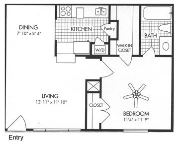 571 sq. ft. A3 floor plan