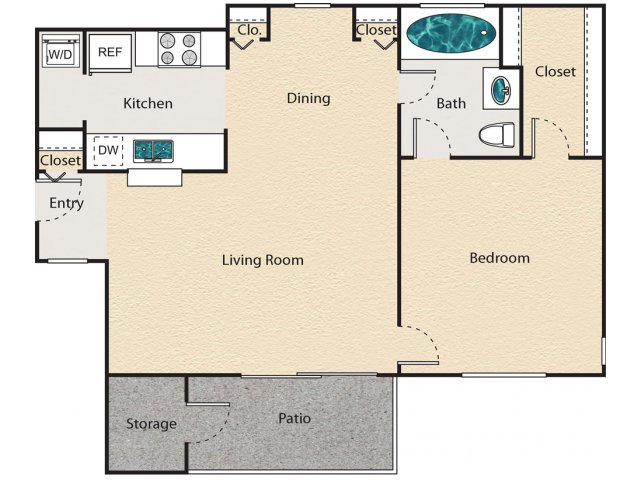 709 sq. ft. D - Essex floor plan