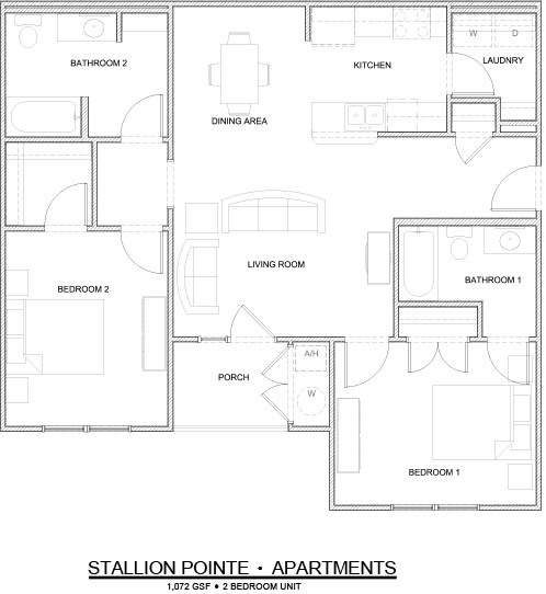 1,072 sq. ft. 2 Bedroom/60% floor plan