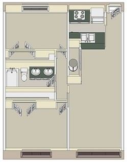 925 sq. ft. Large 2x1 floor plan