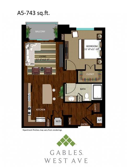743 sq. ft. DA5 floor plan