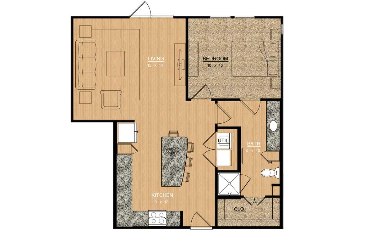 810 sq. ft. Dahlia floor plan