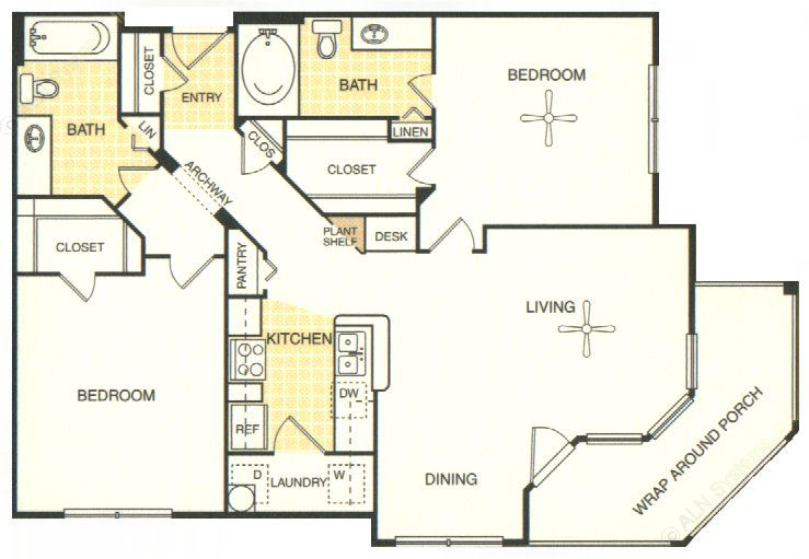 1,027 sq. ft. San Marcos floor plan