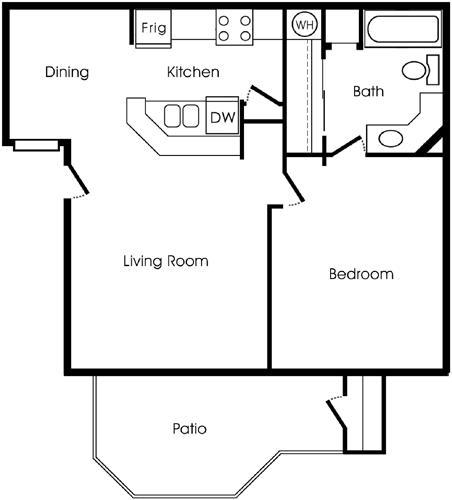 557 sq. ft. A floor plan
