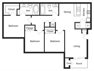 1,212 sq. ft. C2 floor plan