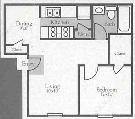 625 sq. ft. A floor plan