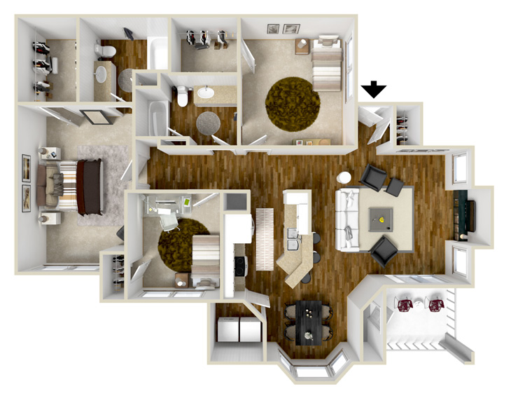 1,445 sq. ft. C1 floor plan