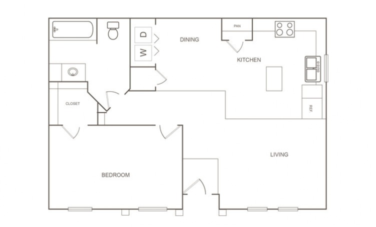 751 sq. ft. B/30% floor plan