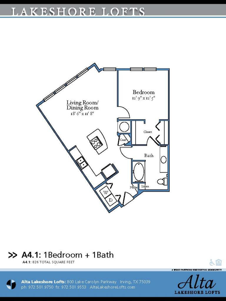 826 sq. ft. A4.1 floor plan